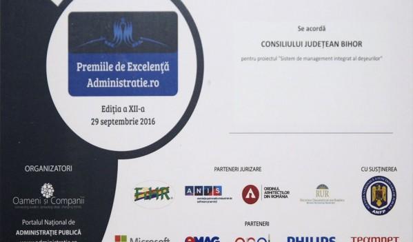 Consiliului Județean Bihor i s-a conferit Premiul de Excelență în Administrație